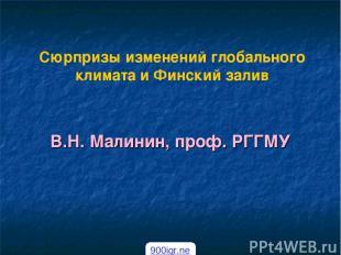 Сюрпризы изменений глобального климата и Финский залив В.Н. Малинин, проф. РГГМУ