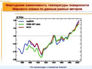 Межгодовая изменчивость температуры поверхности Мирового океана по данным разных