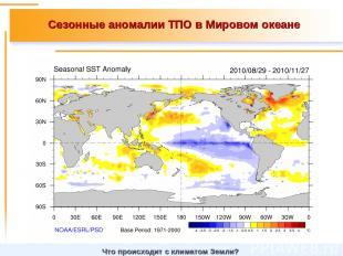 Сезонные аномалии ТПО в Мировом океане Что происходит с климатом Земли?