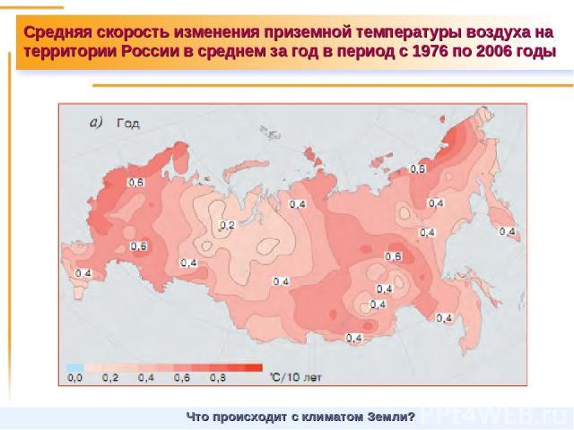 Средняя скорость изменения приземной температуры воздуха на территории России в среднем за год в период с 1976 по 2006 годы Что происходит с климатом Земли?