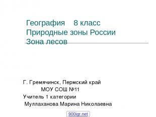 География 8 класс Природные зоны России Зона лесов Г. Гремячинск, Пермский край