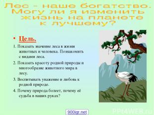 Цель. 1. Показать значение леса в жизни животных и человека. Познакомить с видам