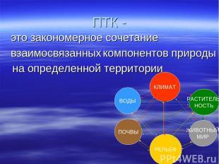ПТК - это закономерное сочетание взаимосвязанных на определенной территории комп