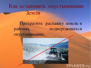 Как остановить опустынивание Земли Прекратить распашку земель в районах, подверг