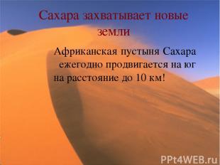 Сахара захватывает новые земли Африканская пустыня Сахара ежегодно продвигается