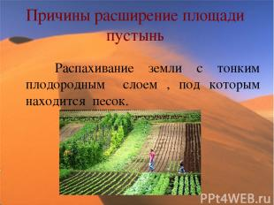 Причины расширение площади пустынь Распахивание земли с тонким плодородным слоем