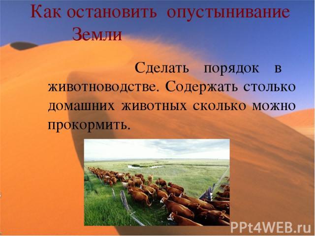 Как остановить опустынивание Земли Сделать порядок в животноводстве. Содержать столько домашних животных сколько можно прокормить.