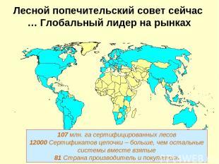 Лесной попечительский совет сейчас … Глобальный лидер на рынках 107 млн. га серт