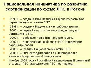 Национальная инициатива по развитию сертификации по схеме ЛПС в России 1998 г. –