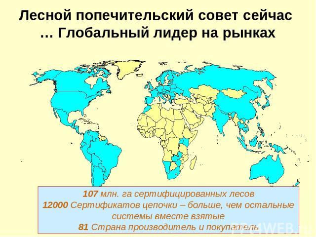 Лесной попечительский совет сейчас … Глобальный лидер на рынках 107 млн. га сертифицированных лесов 12000 Сертификатов цепочки – больше, чем остальные системы вместе взятые 81 Страна производитель и покупатель