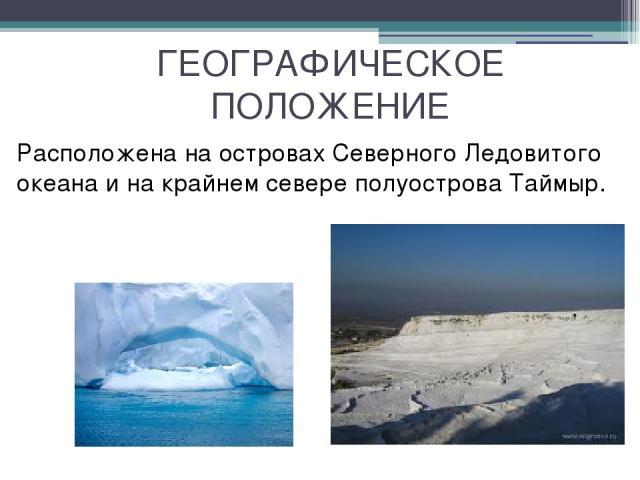 ГЕОГРАФИЧЕСКОЕ ПОЛОЖЕНИЕ Расположена на островах Северного Ледовитого океана и на крайнем севере полуострова Таймыр.