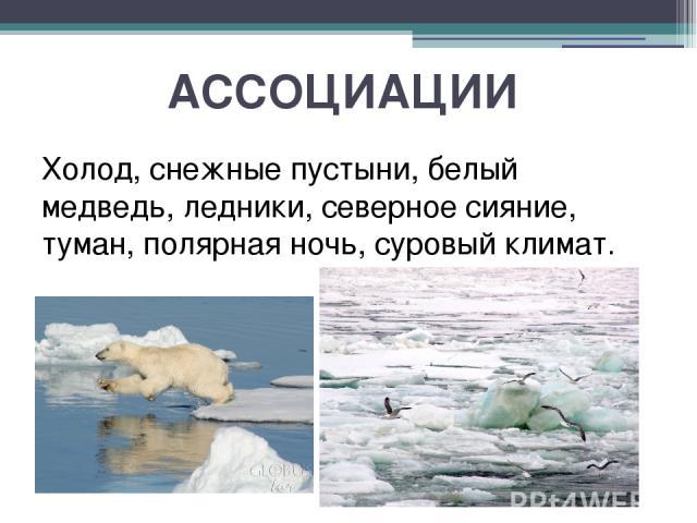 АССОЦИАЦИИ Холод, снежные пустыни, белый медведь, ледники, северное сияние, туман, полярная ночь, суровый климат.