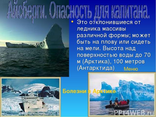 Это отклонившиеся от ледника массивы различной формы; может быть на плову или сидеть на мели. Высота над поверхностью воды до 70 м (Арктика), 100 метров (Антарктида) Меню Болезни в Арктике