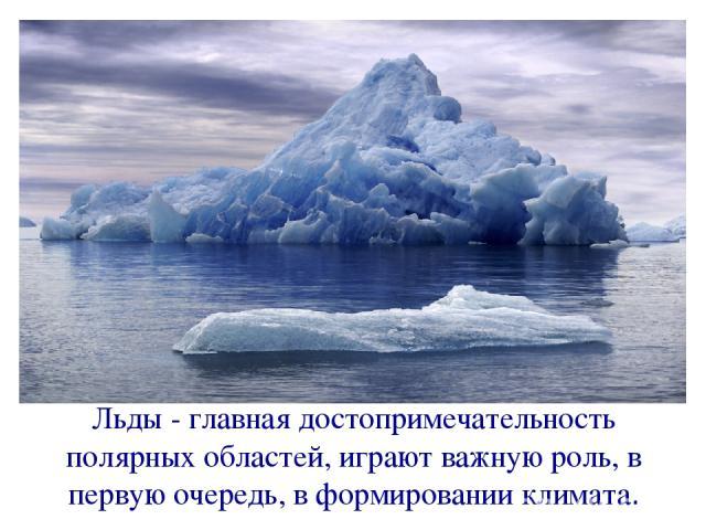 Льды - главная достопримечательность полярных областей, играют важную роль, в первую очередь, в формировании климата.