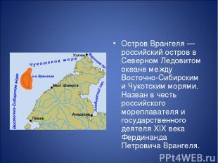 О стров Вра нгеля — российский остров в Северном Ледовитом океане между Восточно