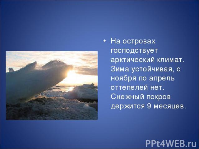 На островах господствует арктический климат. Зима устойчивая, с ноября по апрель оттепелей нет. Снежный покров держится 9 месяцев.
