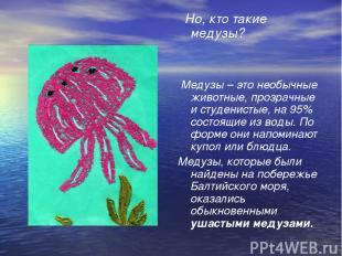 Но, кто такие медузы? Медузы – это необычные животные, прозрачные и студенистые,