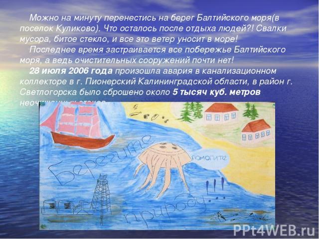 Можно на минуту перенестись на берег Балтийского моря(в поселок Куликово). Что осталось после отдыха людей?! Свалки мусора, битое стекло, и все это ветер уносит в море! Последнее время застраивается все побережье Балтийского моря, а ведь очистительн…