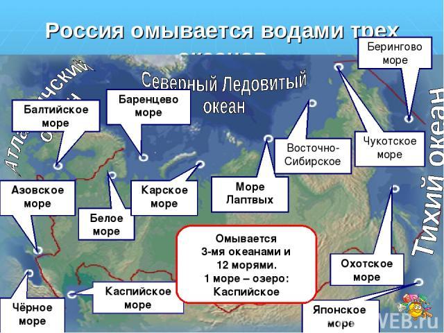 Россия омывается водами трех океанов Каспийское море Балтийское море Азовское море Чёрное море Белое море Баренцево море Карское море Море Лаптвых Восточно-Сибирское Чукотское море Берингово море Охотское море Японское море Омывается 3-мя океанами и…