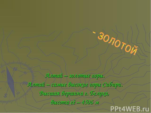 Алтай – золотые горы. Алтай – самые высокие горы Сибири. Высшая вершина г. Белуха, высота её – 4506 м