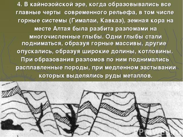4. В кайнозойской эре, когда образовывались все главные черты современного рельефа, в том числе горные системы (Гималаи, Кавказ), земная кора на месте Алтая была разбита разломами на многочисленные глыбы. Одни глыбы стали подниматься, образуя горные…