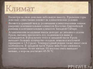 Несмотря на свою довольно небольшую высоту, Уральские горы довольно существенно