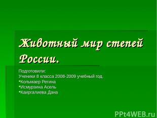 Животный мир степей России. Подготовили: Ученики 8 класса 2008-2009 учебный год.