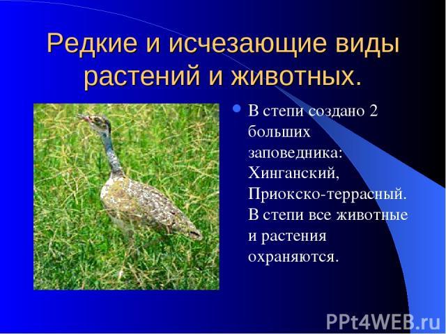 Редкие и исчезающие виды растений и животных. В степи создано 2 больших заповедника: Хинганский, Приокско-террасный. В степи все животные и растения охраняются.