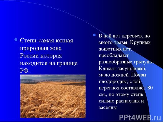 Степи-самая южная природная зона России которая находится на границе РФ. В ней нет деревьев, но много травы. Крупных животных нет, преобладают разнообразные грызуны. Климат засушливый, мало дождей. Почвы плодородны, слой перегноя составляет 80 см., …