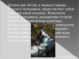 Долины рек Алтая, в первую очередь Катуни и Чулышмана, представляют собой глубок