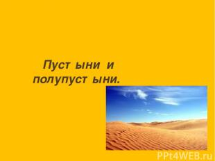 Пустыни и полупустыни.