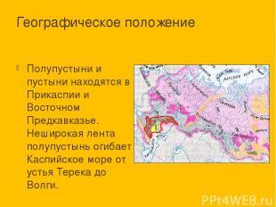 Географическое положение Полупустыни и пустыни находятся в Прикаспии и Восточном