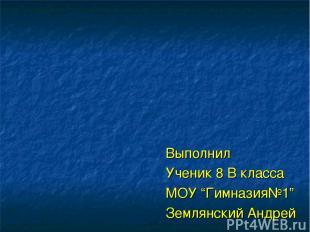 """Выполнил Ученик 8 В класса МОУ """"Гимназия№1"""" Землянский Андрей"""