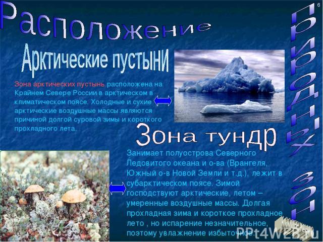 Зона арктических пустынь расположена на Крайнем Севере России в арктическом в климатическом поясе. Холодные и сухие арктические воздушные массы являются причиной долгой суровой зимы и короткого прохладного лета. Занимает полуострова Северного Ледови…