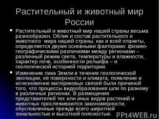 Растительный и животный мир России Растительный и животный мир нашей страны весь