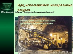 Как используются минеральные ресурсы Шаг второй- добыча : открытый и шахтный спо