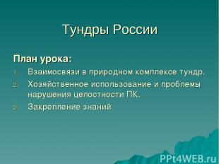 Тундры России План урока: Взаимосвязи в природном комплексе тундр. Хозяйственное