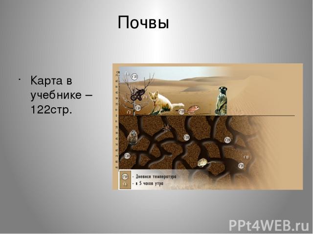 Почвы Карта в учебнике – 122стр.