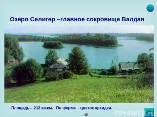 * Озеро Селигер –главное сокровище Валдая Площадь – 212 кв.км. По форме - цветок