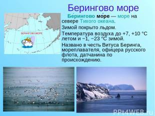 Берингово море Бе рингово мо ре — море на севере Тихого океана. Зимой покрыто ль
