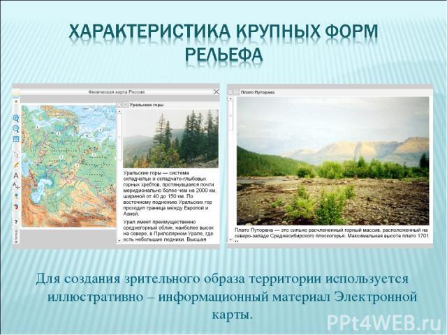 Для создания зрительного образа территории используется иллюстративно – информационный материал Электронной карты.