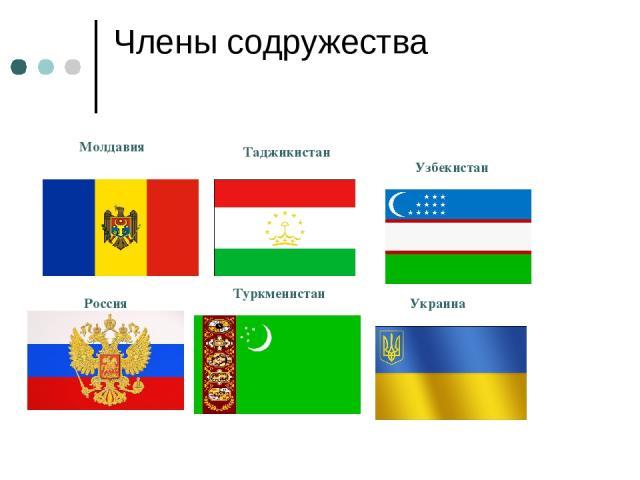 Члены содружества Молдавия Таджикистан Узбекистан Россия Туркменистан Украина
