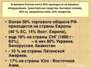 Более 50% торгового оборота РФ приходится на страны Европы (40 % ЕС, 14% Вост. Е
