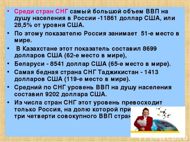 Среди стран СНГ самый большой объем ВВП на душу населения в России -11861 доллар США, или 28,5% от уровня США. По этому показателю Россия занимает 51-е место в мире. В Казахстане этот показатель составил 8699 долларов США (62-е место в мире), Белару…