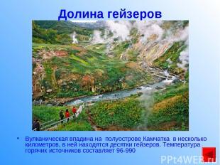 Долина гейзеров Вулканическая впадина на полуострове Камчатка в несколько киломе