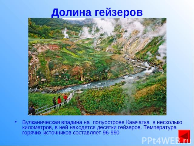 Долина гейзеров Вулканическая впадина на полуострове Камчатка в несколько километров, в ней находятся десятки гейзеров. Температура горячих источников составляет 96-990