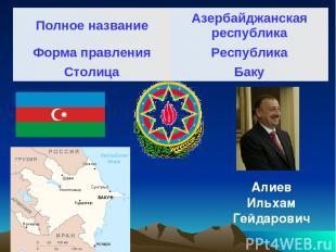 Алиев Ильхам Гейдарович Полное название Азербайджанская республика Форма правлен