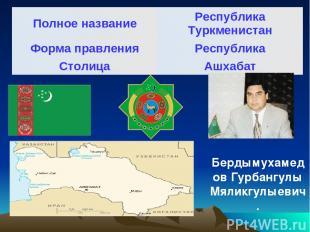 Бердымухамедов Гурбангулы Мяликгулыевич. Полное название Республика Туркменистан