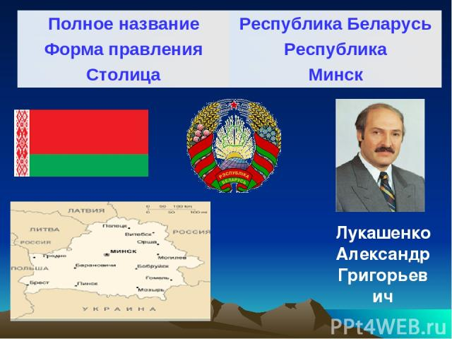 Лукашенко Александр Григорьевич Полное название Республика Беларусь Форма правления Республика Столица Минск