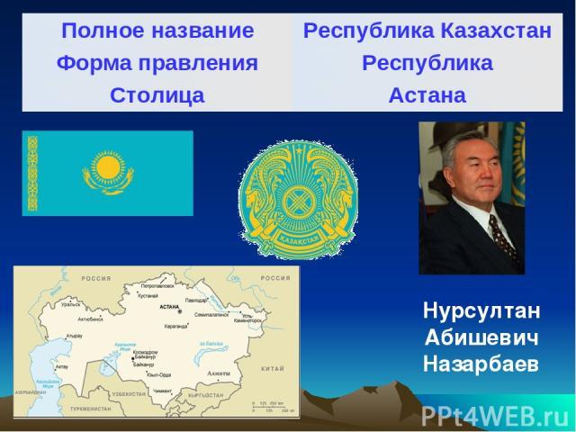 Нурсултан Абишевич Назарбаев Полное название Республика Казахстан Форма правления Республика Столица Астана